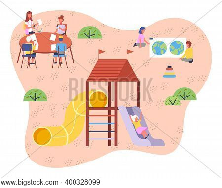 Children Playing Playground Vector Illustration. Kids On The Summer Play-field Play In The Sand. Con