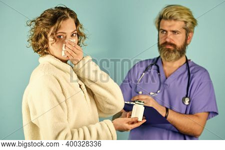 Prescribe Tests And Treatment. Sick Patient. Medical Help. Medical History. Doctor Communicate Woman