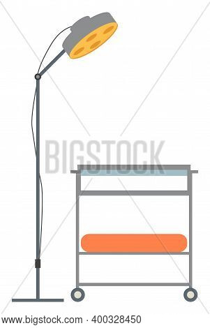 Operation Lamp Icon. Cartoon Of Operation Lamp Vector Icon For Web Design. Small Table For Storing M