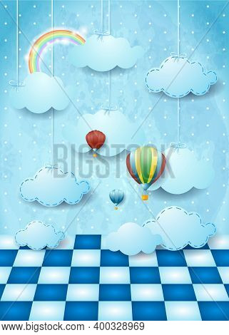 Surreal Landscape With Hanging Clouds, Balloons And Floor. Vector Illustration Eps10