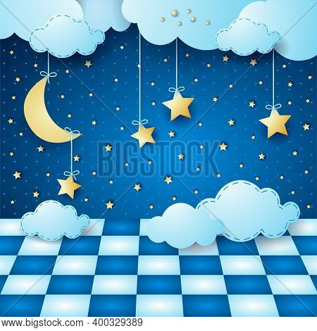 Surreal Night With Hanging Moon, Clouds And Floor. Vector Illustration Eps10