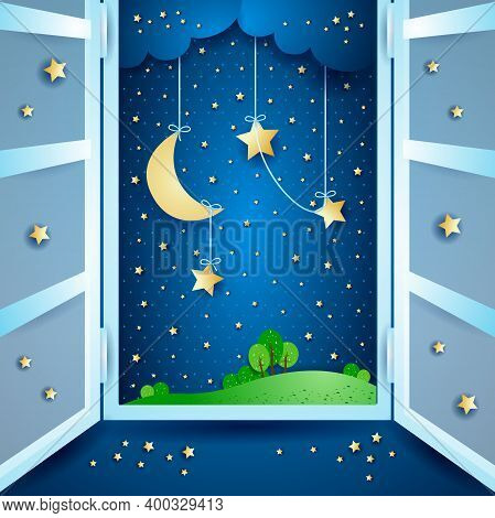 Surreal Landscape With Open Window, Vector Illustration Eps10