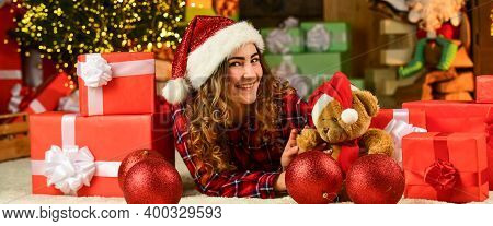 Woman Enjoy Festive Mood. Making Wish. Dreaming About Future Year. Happy New Year. Christmas Traditi