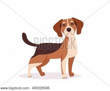 Happy Cartoon Puppy Sitting, Portrait Of Cute Little Dog Wearing Collar. Dog Friend. Vector Illustra