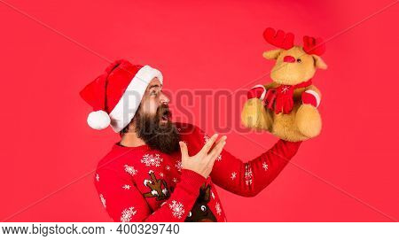 Symbol Of Christmas. Christmas Eve. Gifts For Kids. Dear Santa. Bearded Man Reindeer Toy. Hipster Ma