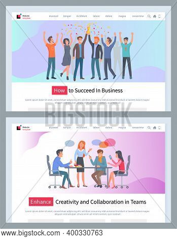 How To Succeed In Business Vector Website Template, Enhance Creativity And Collaboration In Team Web