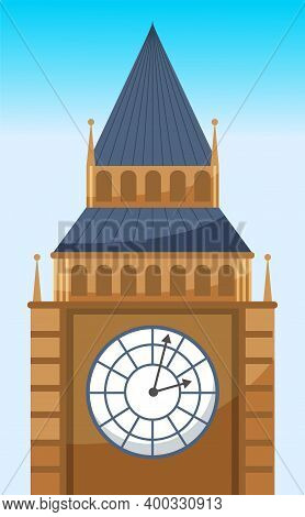 Clock Tower Flat Vector Icon Of Big Ben. British Tower With Clock. Popular Tourist Attraction In Lon