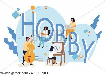 People And Hobby Icons Around The Giant Letters Hobby . Flat Cartoon Vector Illustration.