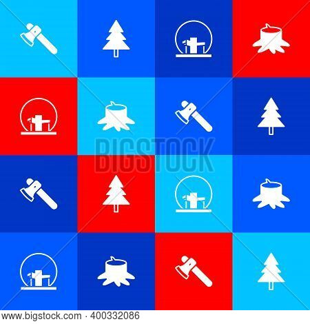 Set Wooden Axe, Christmas Tree, Montreal Biosphere And Tree Stump Icon. Vector