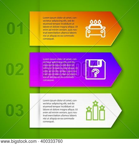 Set Line Car Wash, Unknown Document, Ranking Star And Open New Window. Business Infographic Template