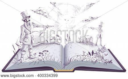 Two Gentlemen Man Had Duel On Vintage Pistols. Open Book Illustration Novel. Vector Isolated On Whit