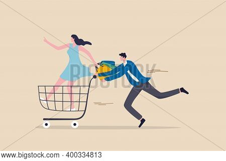 Big Sale Shopping, Consumerism, Customer Enjoy Buying Or Purchasing Goods Concept, Happy Young Coupl