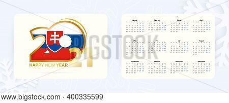 Horizontal Pocket Calendar 2021 In Slovak Language. New Year 2021 Icon With Flag Of Slovakia. Vector