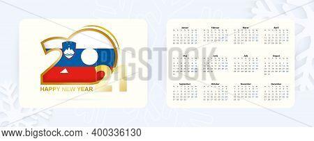 Horizontal Pocket Calendar 2021 In Slovenian Language. New Year 2021 Icon With Flag Of Slovenia. Vec
