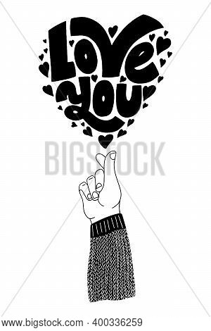 Love You Hand-drawn Lettering Typography. Quote About Love For Valentines Day And Wedding. Text For