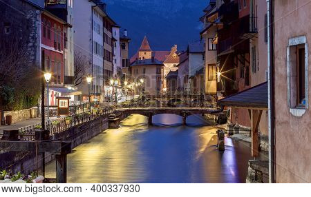 Canal And Facades Of Medieval Houses In The Old City On The Sunset. Annecy. France.