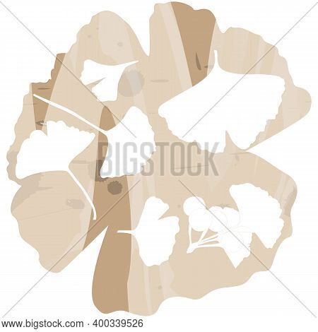 Ginkgo Biloba Leaf Set. Vector Realistic Silhouettes Isolated On Brown Painted Background. Botanical
