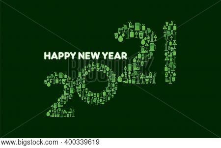 Vector Illustration Of Happy New Year 2021 Concept Design For Environmental And Eco-friendly, Energy