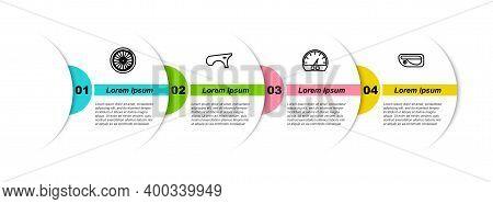 Set Line Car Wheel, Fender, Speedometer And Door Handle. Business Infographic Template. Vector