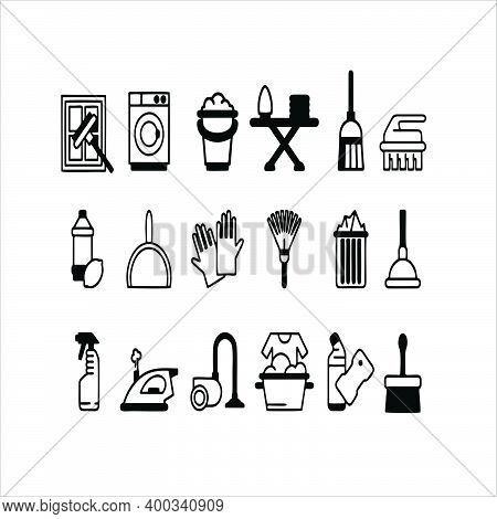 Laundry, Window Sponge And Vacuum Cleaner Icons. Cleaning Line Icon. Washing Machines, Maid Service