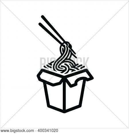 Take Away Cardboard Wok Box Noodle With Fried Vegetable And Pork Outline Icon. Take-out Cardboard Fo