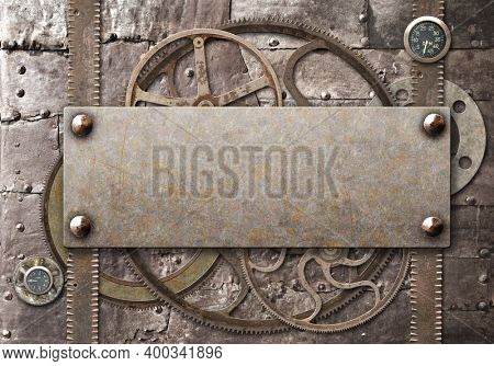 Grunge background in steampunk style. Texture of old metal with rivets and rusty frame. Mock up tempalte. Copy space for your text