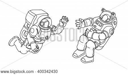 A Pair Of Astronauts In Spacesuits Floating In Zero Gravity, Meeting In Outer Space, Vector Illustra
