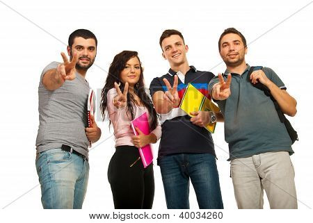 Students Showing Victory Hands
