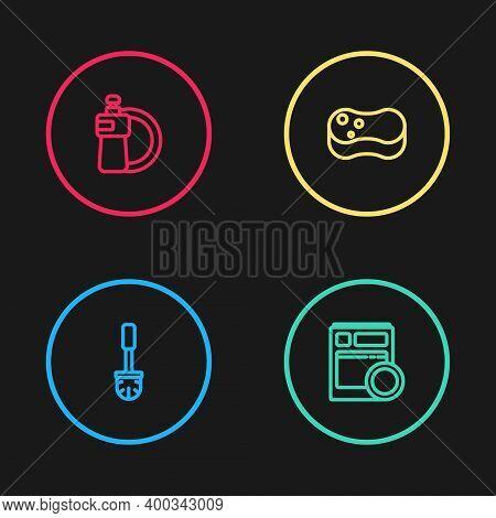 Set Line Toilet Brush, Kitchen Dishwasher Machine, Sponge And Dishwashing Liquid Bottle And Plate Ic