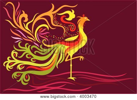 a decorative phoenix with feather flowing high and in flame facing the right side. poster