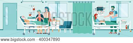 Hospital Ward Interior With Patient And Attending Doctor Cartoon Characters, Flat Vector Illustratio