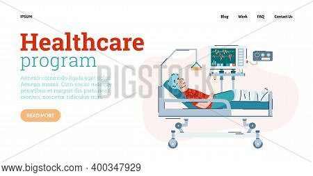 Health Care Program Website Page Template With Patient In Hospital Bed, Flat Cartoon Vector Illustra