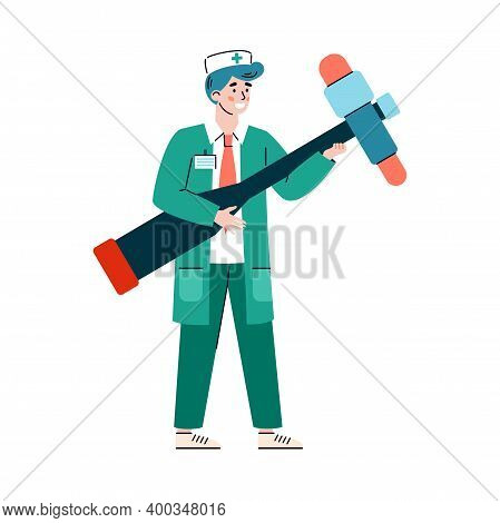 A Character Of Doctor Neurologist With Huge Reflex Hammer. Medical Practitioner Is Diagnosis And Tre