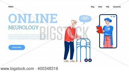 Online Neurology Medicine Website Page Template With Doctor Advising Disabled Elderly Patient On Neu