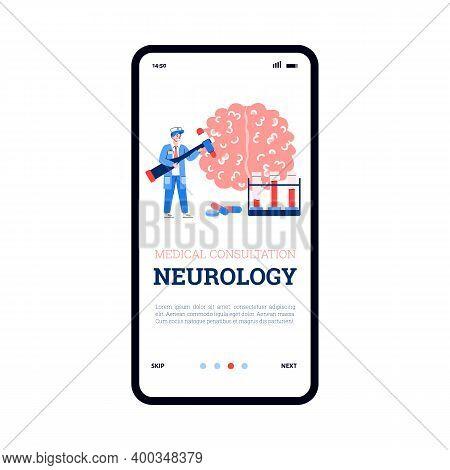 Neurological Medical Consultation App Page Template With Doctor Neurologist, Cartoon Vector Illustra