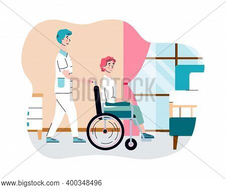 Nursing Home For Elderly Retired People. Female Doctor Nurse Help Old Woman In Wheelchair. Residenti