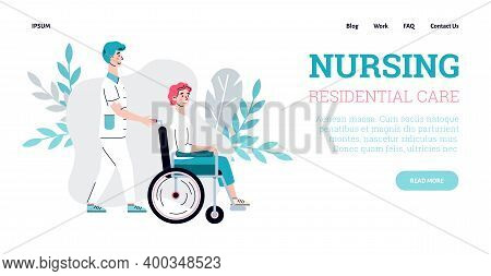 Nursing Residential Care Website Banner Template With Cartoon Characters Of Nurse And Disabled Perso