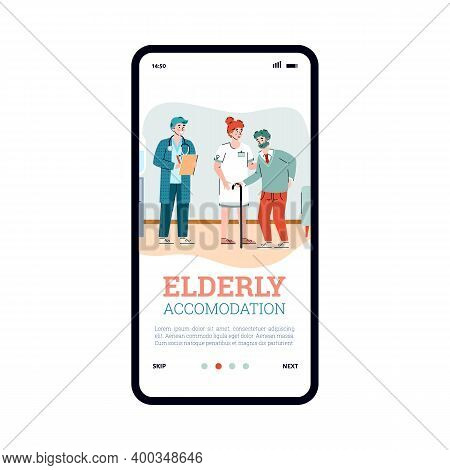 Mobile App Interface On Phone Screen For Nursing Home. Female Doctor Nurse Help Elderly Male. Reside