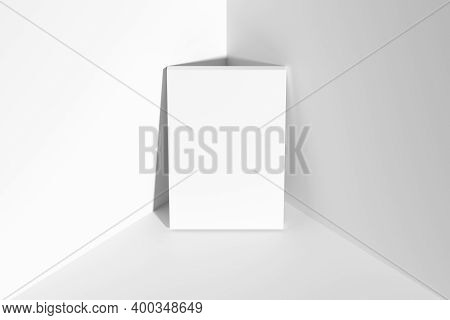 Blank White Empty Rectangular Poster On Floor Leaning At Empty White Walls In Cornet Top View, White