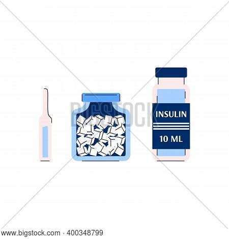 Diabetes Insulin Medication Treatment Pills And Injection Ampule, Flat Cartoon Vector Illustration I