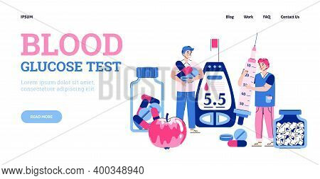 Landing Page Template With Doctor Making Medical Blood Glucose Test. Concept Of World Diabetes Day,