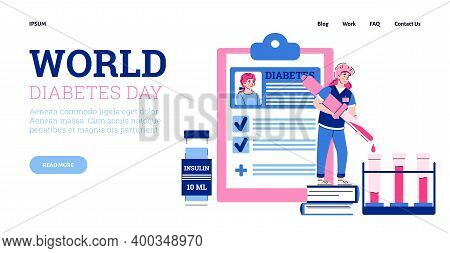 Vector Landing Page Template With World Diabetes Day Concept. Doctor Making Medical Analyses For Pat