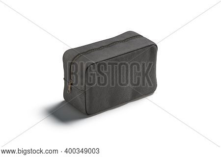 Blank Black Canvas Cosmetic Bag Mockup, Side View, 3d Rendering. Empty Closed Storage Pouch For Wome