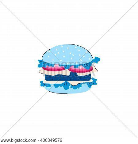 Cartoon Icon Of Hamburger Or Cheeseburger, Flat Cartoon Vector Illustration Isolated On White Backgr