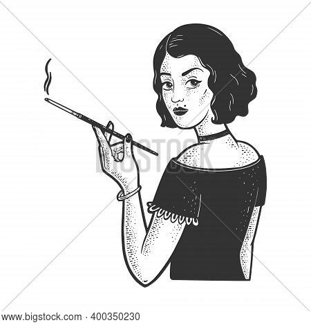 Girl With Mouthpiece Cigarette Holder And Cigarette Sketch Engraving Vector Illustration. T-shirt Ap
