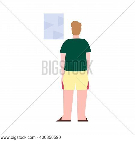 Back View Of Guy Standing In Front Of The Picture. Male Character Rear. Man In Summer Clothes View F
