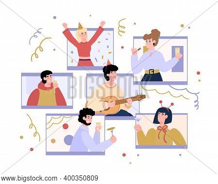 Virtual Party Banner Design With People Socialising In Network, Flat Cartoon Vector Illustration Iso