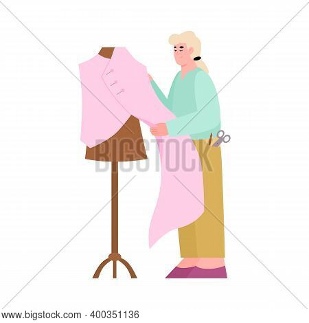 Tailor Shop Or Fashion Atelier With Seamstress Measuring Fabric For Tailoring. Female Dressmaker Or