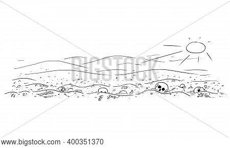 Vector Cartoon Drawing Or Illustration Of Abandoned Desert Landscape With Bones And Skulls. Concept