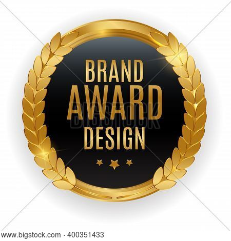 Premium Quality Gold Medal Badge. Label Seal Brand Award Design Isolated On White Background. Vector